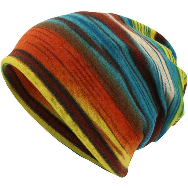 Ribbed warm unisex striped beanie