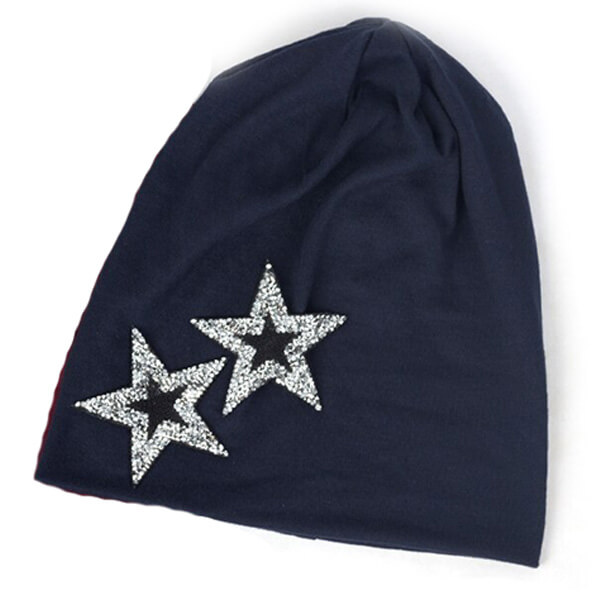 Silvery star beanie hat for an alluring look