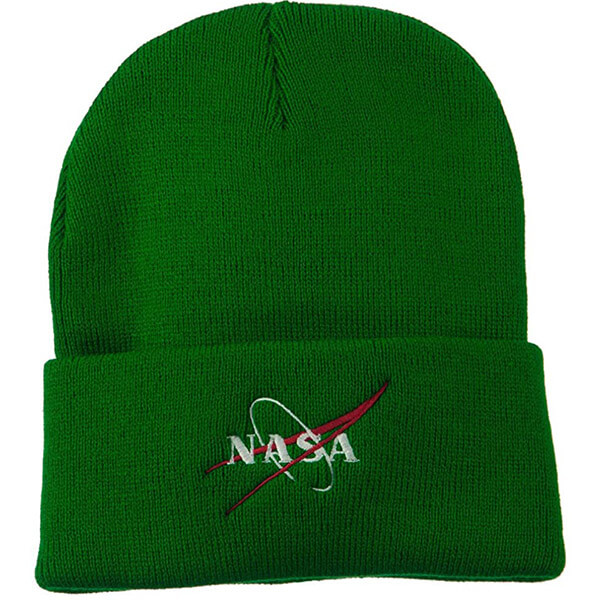 Slouchy Green NASA Beanie for Complete coverage
