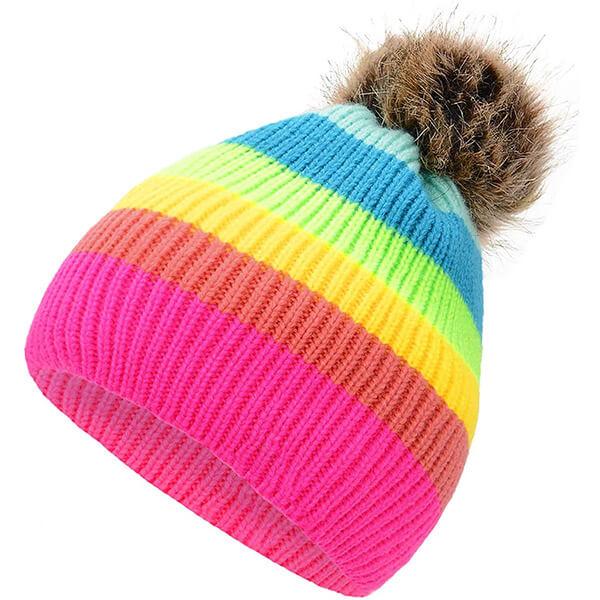 Striped Rainbow Winter Hat for Women with Pom Pom