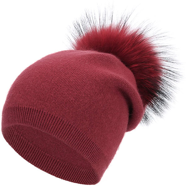Thick double layer winter slouchy beanie for women with pom pom