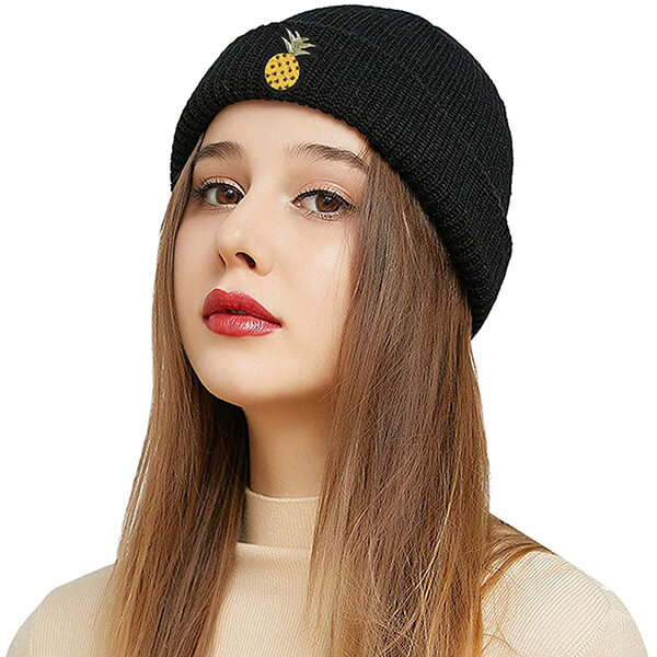 Trendy Slouch Beanie with Pineapple Embroidery