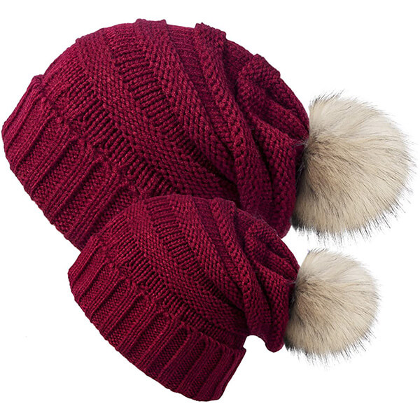 Wine red slouchy mommy and me beanies with pom-pom
