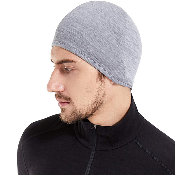 100% wool, sweat-free men's running beanie