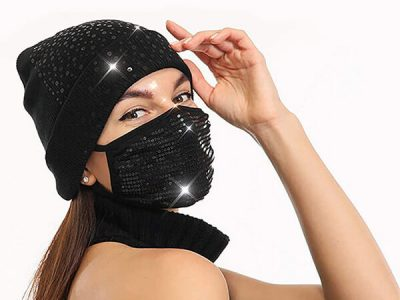 Black beauty sequin beanie with removable mask
