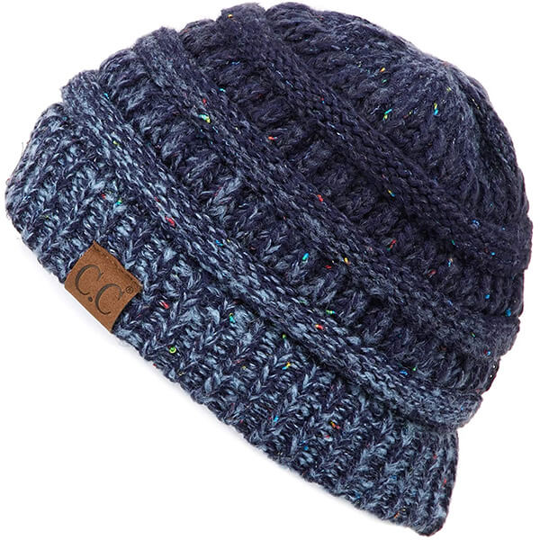 Denim Blue Ribbed Beanie for All Ages