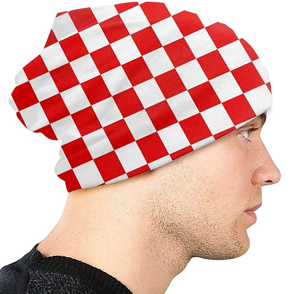 Double Layered Red and White Slouchy Checkered Beanie