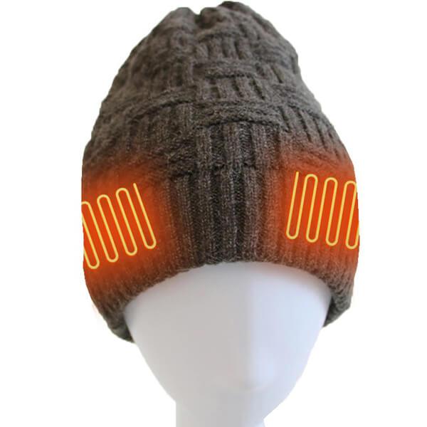 Grey knit heating beanie to keep you warm