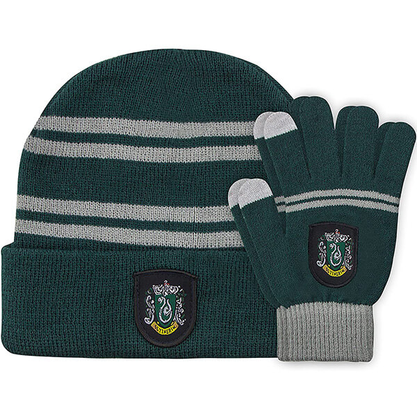 Knitted Slytherin Beanie with Gloves for Kids