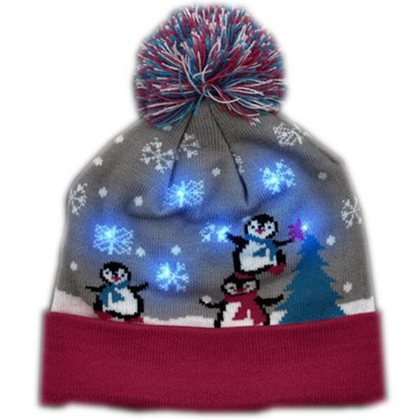Multicolor Snowy Holiday Penguin Beanie