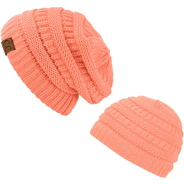 Regular usage of peach beanies for mommy and child