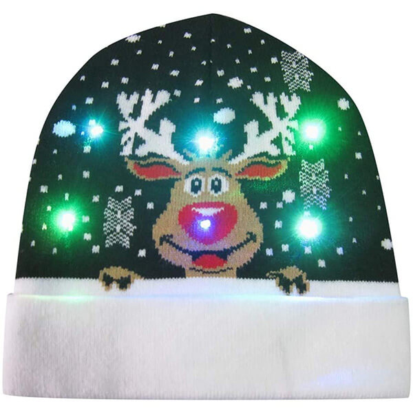 Reindeer light-up Christmas beanie with cuff