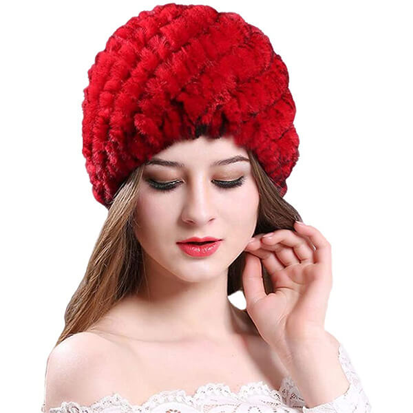 Romantic Red Rabbit Fur Beanie for Your Loved One