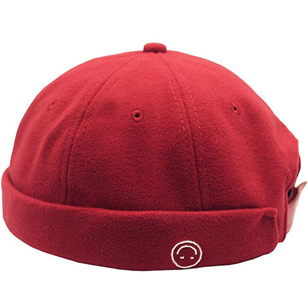 Smiley, red-colored beanie for all genders