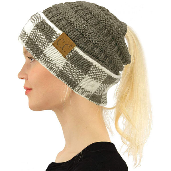Sporty look ponytail beanie for women