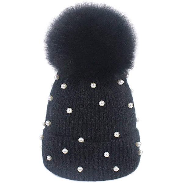 Wool Knitted Beanie Hat with Pearl for Women