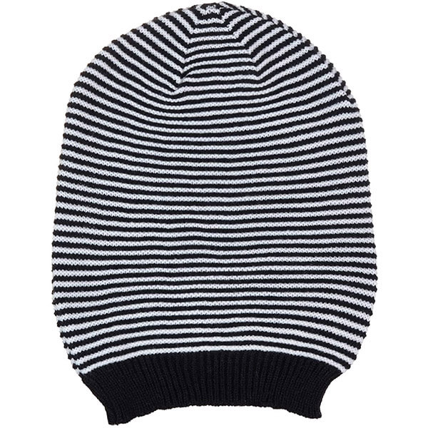 Black and white striped knit beanie