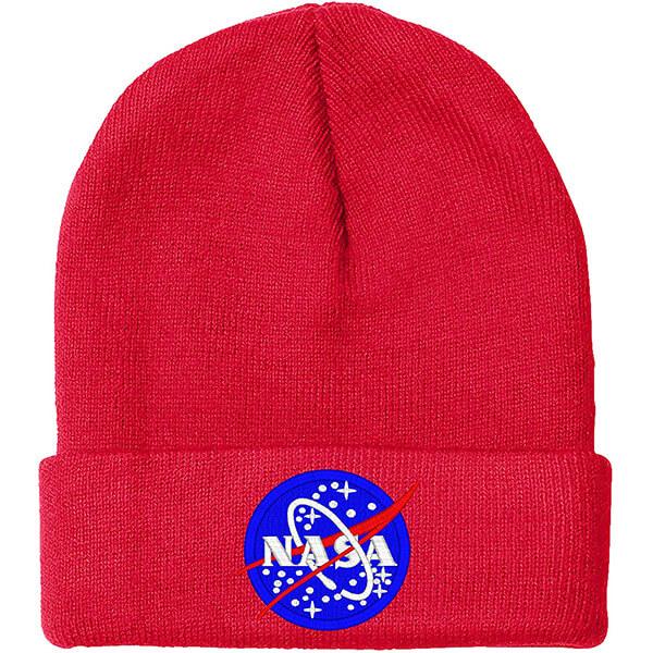 Burgundy Red Knit NASA Beanie