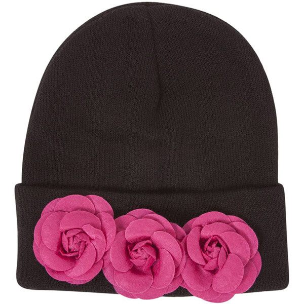 Flowers attached cuff rose beanie for women