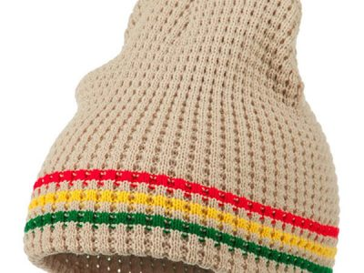 Khaki, vibrant striped beanie for all ages