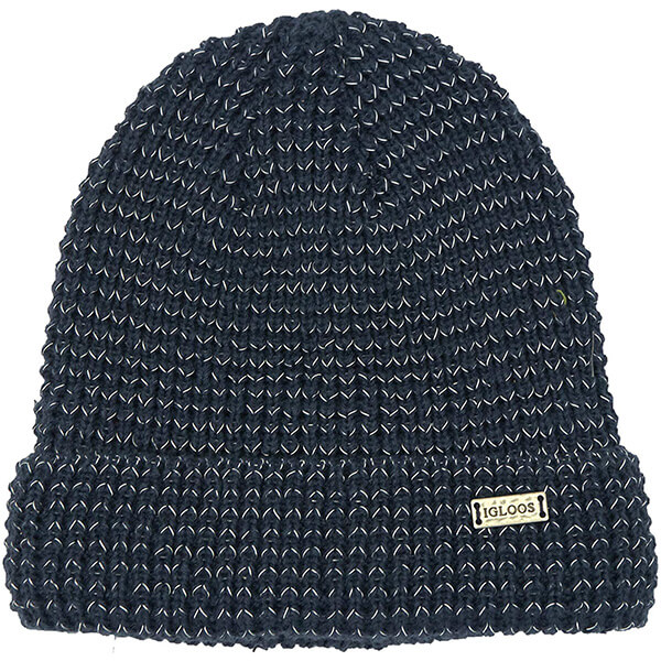 Navy blue safety reflective beanie with cuff
