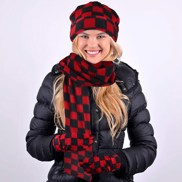 Protective 3 Piece Checkered Beanie Scarf& Glove Set