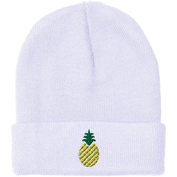 White Acrylic Winter Hat with Pineapple Embroidery