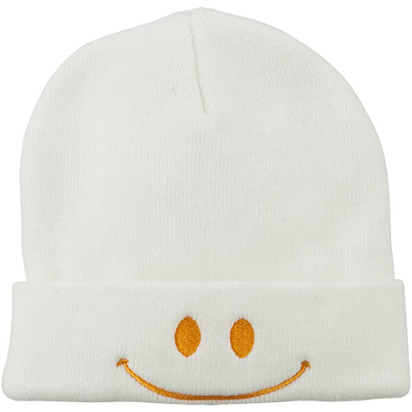 White smiley beanie hat for all