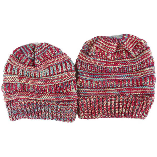 Wild multicolored beanies for your mommy and son