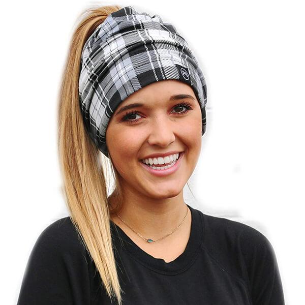 100% cotton fashion forward slouchy ponytail plaid beanie