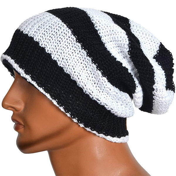 Black and white slouchy knit beanie for winters