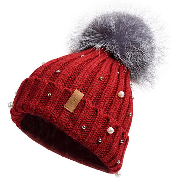 Cuff Beanie Hat with Pearl