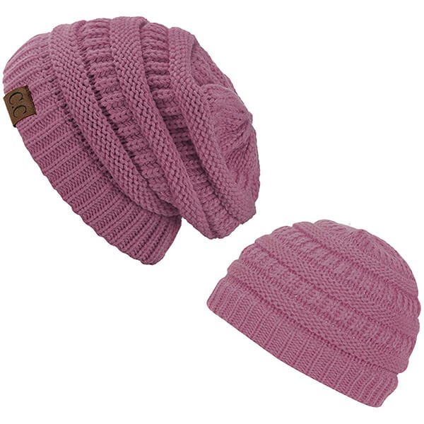 Elegant  orchid purple beanies for mommy and daughter