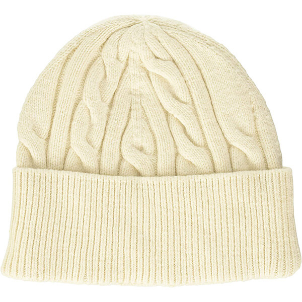 Off White Ribbed Beanie With Thick Cuff
