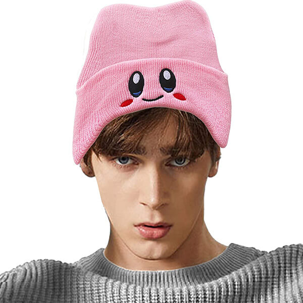 Pink Smiley face wool beanie hat for everyone