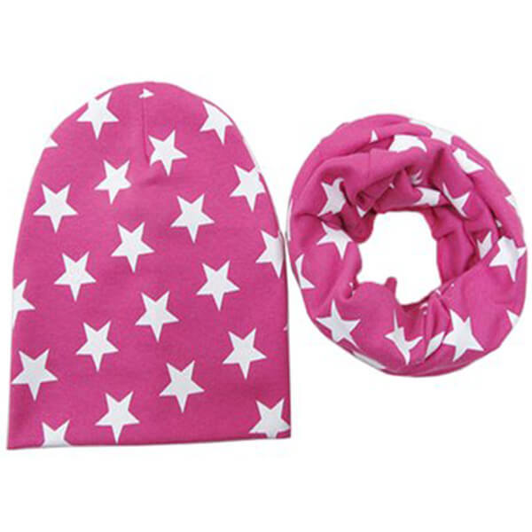 Solid colored star beanie hats with mask for children