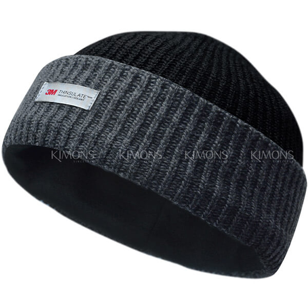 Solid cuff slouchy winter hat for men