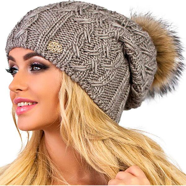 Winter knit hat with fur pom pom