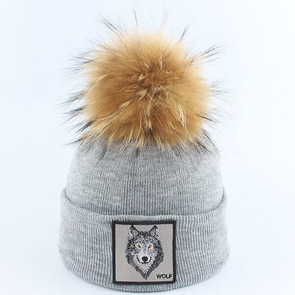 Wolf Beanie Hat With Pom Pom