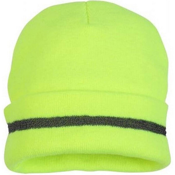 Worth-investing safety reflective beanie with highly visible jacket