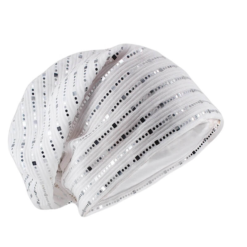 Alluring white sequin cuffless beanie for the matching season