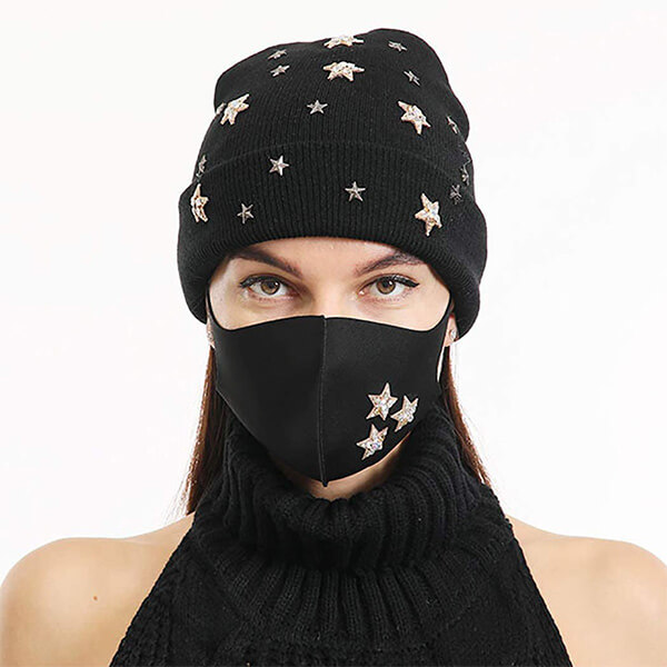 Chic look star beanie hat with mask
