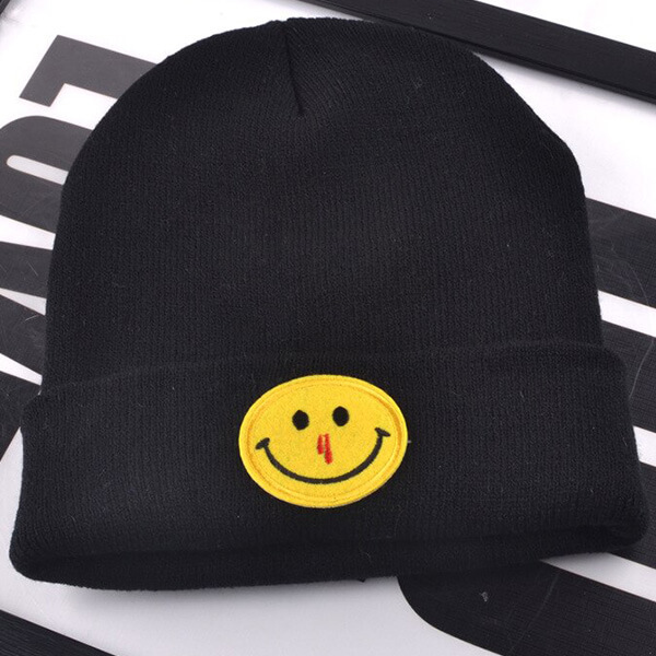 Cotton hypoallergenic smiley beanie for all