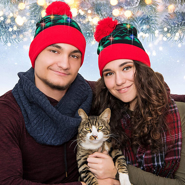 Double layered cotton light up christmas beanie