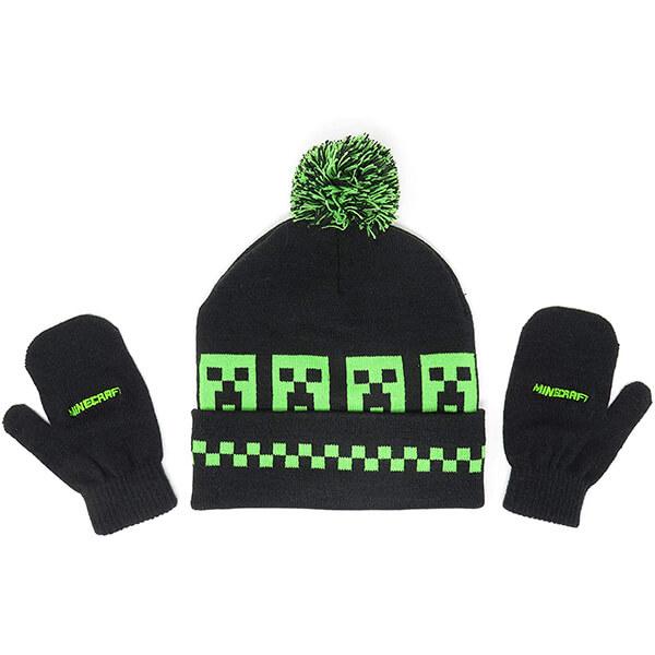 Neon Green Minecraft Black Pom-pom Beanie