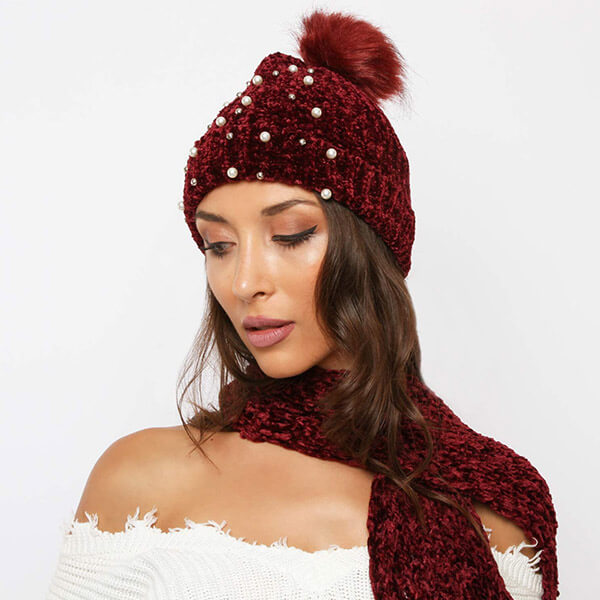 Pom Pom Winter Beanie with Pearls