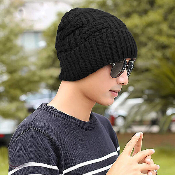 Slouchy beanie warm knitted winter hat