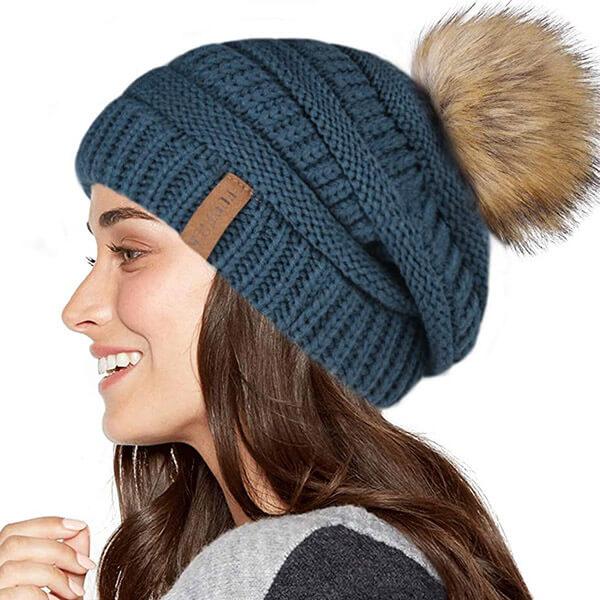 Winter fleece-lined slouchy beanie hat for women