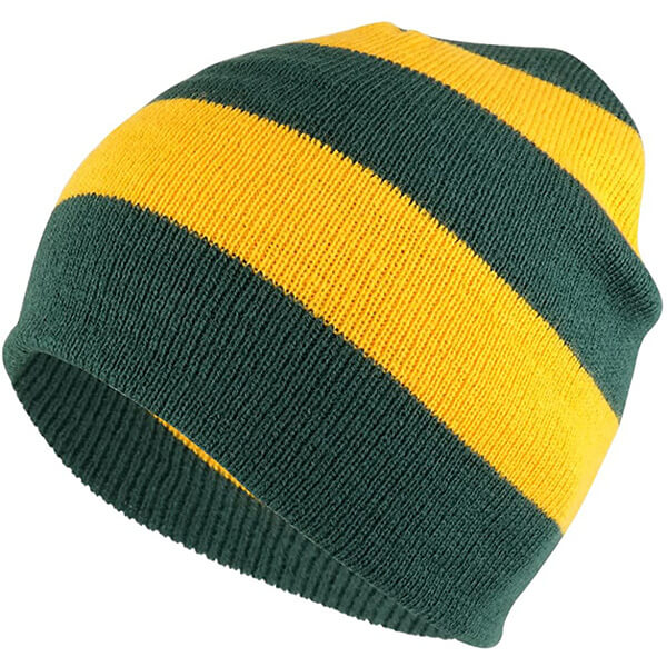 Earthy Green and Yellow Two Tone Beanie