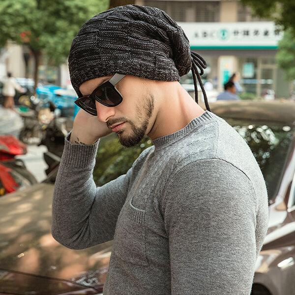 Fleece knitted windproof beanie